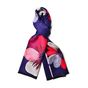 Navy and Tan 100% Viscose Reversible Multi Color Daisy Pattern Scarf (74x26 in)