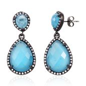 Simulated Cats Eye Blue, White Austrian Crystal ION Plated Black Stainless Steel Drop Earrings TGW 15.96 cts.