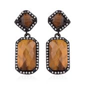 South African Tigers Eye, White Austrian Crystal ION Plated Black Stainless Steel Earrings TGW 15.96 cts.