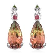 Rainbow Genesis Quartz, Niassa Ruby, Russian Diopside Platinum Over Sterling Silver Earrings TGW 19.98 cts.