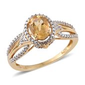 Brazilian Citrine 14K YG Over Sterling Silver Ring (Size 9.0) TGW 1.30 cts.