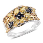 Yellow and Kanchanaburi Blue Sapphire 14K YG & Platinum Over Sterling Silver Ring (Size 8.0) TGW 3.36 cts.