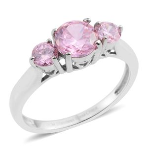 Simulated Pink Sapphire Stainless Steel Trilogy Ring (Size 8.0) TGW 2.01 cts.