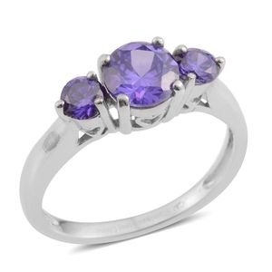 Simulated Purple Diamond Stainless Steel Ring (Size 8.0) TGW 2.01 cts.