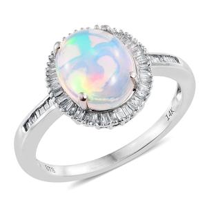 14K WG Ethiopian Welo Opal, Diamond Halo Ring (Size 7.0) TDiaWt 0.30 cts, TGW 2.60 cts.