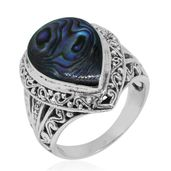 Bali Legacy Collection Abalone Shell Sterling Silver Ring (Size 8.0)