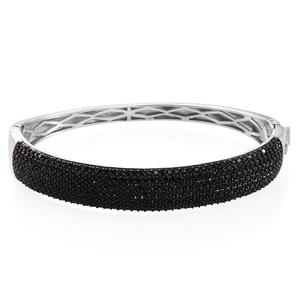 Thai Black Spinel Black Rhodium& Platinum Over Sterling Silver Cluster Bangle (8 in) TGW 9.90 cts.