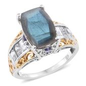 Malagasy Labradorite, Tanzanite, White Topaz 14K YG and Platinum Over Sterling Silver Ring (Size 9.0) TGW 9.74 cts.