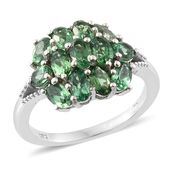 Emeraldine Apatite Platinum Over Sterling Silver Cluster Ring (Size 6.0) TGW 3.37 cts.