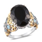 Australian Black Tourmaline, Electric Blue Topaz 14K YG and Platinum Over Sterling Silver Butterfly Band Ring (Size 10.0) TGW 15.70 cts.