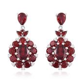 Mozambique Garnet, White Zircon Sterling Silver Dangle Earrings TGW 12.68 cts.