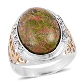 Unakite, White Austrian Crystal ION Plated YG and Stainless Steel Men's Ring (Size 11.0) TGW 3.24 cts.