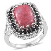 Norwegian Thulite, Thai Black Spinel Platinum Over Sterling Silver Halo Ring (Size 6.0) TGW 9.25 cts.