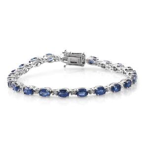 Himalayan Kyanite, Cambodian Zircon Platinum Over Sterling Silver Night's Shine Tennis Bracelet (7.50 In) TGW 14.91 cts.