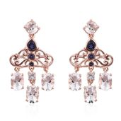 Petalite, Catalina Iolite, White Topaz 14K RG Over Sterling Silver Chandelier Earrings TGW 4.48 cts.