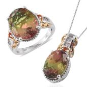 Rainbow Genesis Quartz, White Topaz, Cherry Fire Opal 14K YG and Platinum Over Sterling Silver Ring (Size 8) and Pendant With Chain (20 in) TGW 19.08 cts.