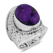 Ankur's Treasure Chest Bali Legacy Collection Mojave Purple Turquoise Sterling Silver Ring (Size 7.0) TGW 12.07 cts.