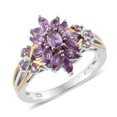 Madagascar Purple Sapphire 14K YG and Platinum Over Sterling Silver Ring (Size 9.0) TGW 1.69 cts.
