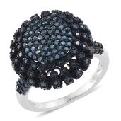 Blue Diamond (IR) Blue Rhodium and Platinum Over Sterling Silver Dome Ring (Size 8.0) TDiaWt 1.50 cts, TGW 1.50 cts.