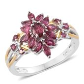 Ouro Fino Rubellite 14K YG and Platinum Over Sterling Silver Ring (Size 5.0) TGW 1.24 cts.