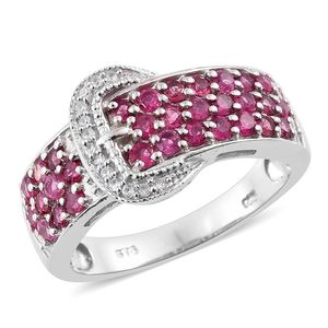 Ouro Fino Rubellite, Cambodian Zircon Platinum Over Sterling Silver Buckle Ring (Size 6.0) TGW 1.60 cts.