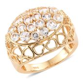 KARIS Collection - White Topaz ION Plated 18K YG Brass Ring (Size 5.0) TGW 2.70 cts.