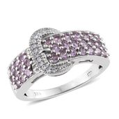 Madagascar Purple Sapphire, Cambodian Zircon Platinum Over Sterling Silver Buckle Ring (Size 5.0) TGW 1.53 cts.