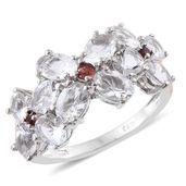 Petalite, Mozambique Garnet Platinum Over Sterling Silver Floral Trilogy Ring (Size 6.0) TGW 3.70 cts.