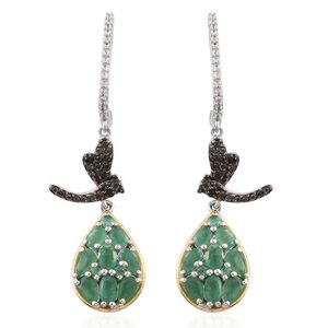Kagem Zambian Emerald, Brazilian Smoky Quartz, Cambodian Zircon 14K YG and Platinum Over Sterling Silver J-Hoop Dragonfly Drop Earrings TGW 3.94 cts.