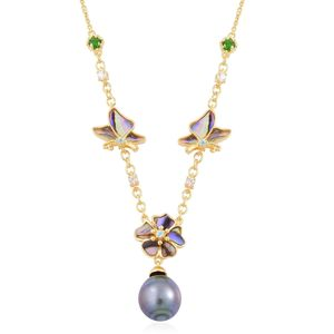 Tahitian Pearl, Multi Gemstone 14K YG Over Sterling Silver Necklace (18 in) TGW 0.75 cts.