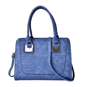 Denim Blue Stripe Embossed Faux Leather Tote Bag with Removable Strap (13.5x5x10 in)