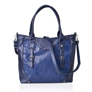 Navy Snake Embossed Faux Leather Buckle Tote Bag with Standing Studs and Removable Strap (44in)(15x4.5x12 in)