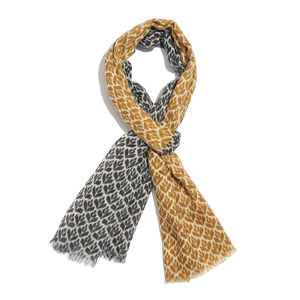 Golden and Gray 100% Merino Wool Floral Pattern Scarf (70x27 in)