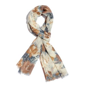 Multi Color Blossom Printed 100% Merino Wool Scarf (27x70 in)