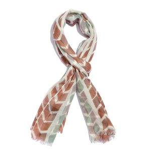 Brown and Sea Green Directional Printed 100% Merino Wool Scarf (70x27 in)