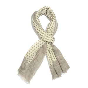 Gray and White Dots Printed 100% Merino Wool Scarf (70x27 in)
