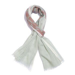 Brown and Sea Green Printed 100% Merino Wool Scarf (70x27 in)