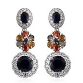 Multi Sapphire, Cambodian Zircon Platinum Over Sterling Silver Floral Dangle Earrings TGW 10.62 cts.