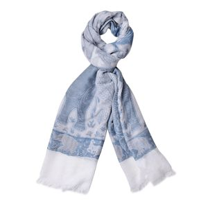 Light Navy Anilmal Pattern 100% Acrylic Scarf (27.55x75.59 in)