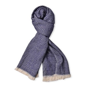 Navy and Ivory Chevron Pattern 100% Acrylic Scarf with Fringes (72x27 in)