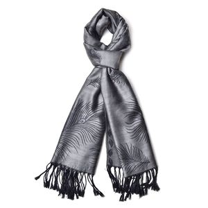 Black Feather Pattern 60% Acrylic & 40% Viscose Scarf (27.56x75.59 in)