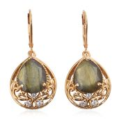 Malagasy Labradorite, Cambodian Zircon 14K YG Over Sterling Silver Earrings TGW 9.36 cts.