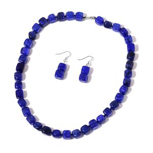 Mega Clearance Enhanced Lapis-Blue Agate Sterling Silver Earrings and Necklace (18 in) TGW 376.50 cts.