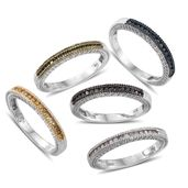 Set of 5 Multi Color Diamond (Natural & IR) Multi Rhodium & Platinum Over Sterling Silver Stackable Channel Rings (Size 8) TDiaWt 0.75 cts, TGW 0.75 cts.