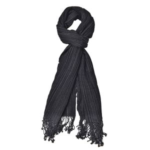 Black 100% Wool Scarf with Tassles (17.72x71.81 in)