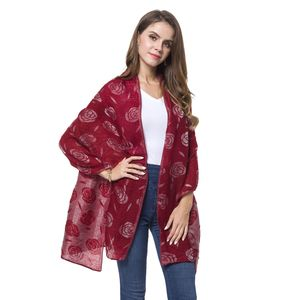 Burgundy 3D Rose Pattern 100% Polyester Reversible Shawl Wrap or Scarf (74x27.5 in)