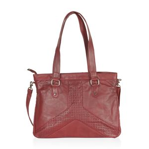 Dark Red Genuine Leather RFID Laser Cut Handbag (14.5x3.5x11 in) with Removable Strap (50 in)