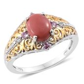 Oregon Peach Opal, Madagascar Pink Sapphire, Cambodian Zircon 14K YG and Platinum Over Sterling Silver Ring (Size 7.0) TGW 1.48 cts.