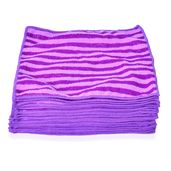 Purple Stripe Pattern Microfiber Set of 25 Cleaning Towels (12x12 in)