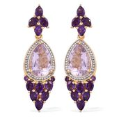GP Rose De France Amethyst, Amethyst 14K YG and Platinum Over Sterling Silver Earrings TGW 8.22 cts.